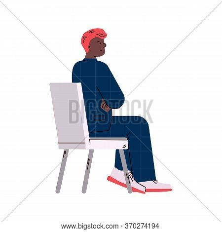 Cartoon Man Sitting On Chair From Back Side View Isolated On White Background - Businessman In Suit