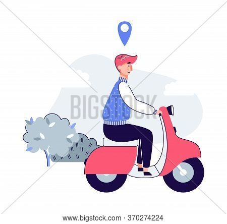 Cartoon Man Riding Scooter With Location Tag Icon Floating Above His Head. Vector Illustration Of Pe