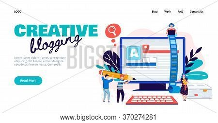 Creative Blogging Banner - Marketing Blog Or Text Copywriting And Editing Service Website Template W
