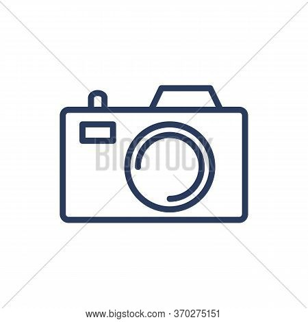 Digital Photo Camera Thin Line Icon. Media Device, Shutter, Capture Isolated Outline Sign. Photograp