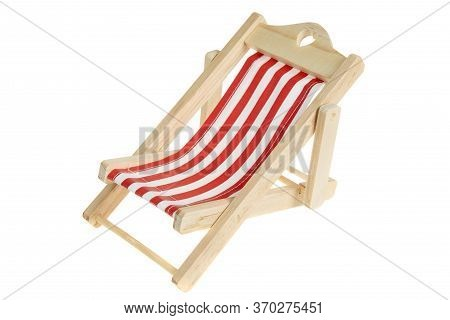 Beach Chair Isolated On White. Red And White Striped Deck Chair.