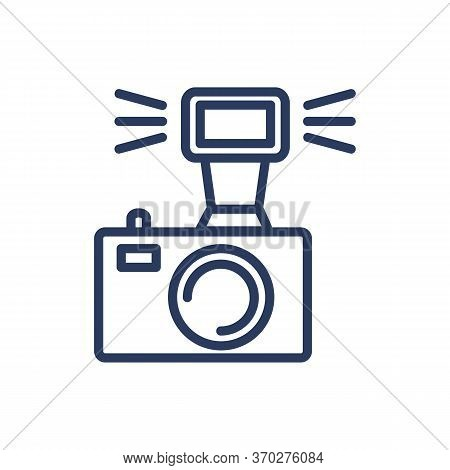 Dsrl Camera Flash Thin Line Icon. Light, Analog Device, Sparkle Isolated Outline Sign. Photographer