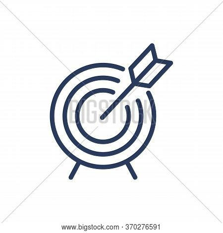 Hitting Target Thin Line Icon. Dart, Dartboard, Arrow In Center Isolated Outline Sign. Accuracy, Goa