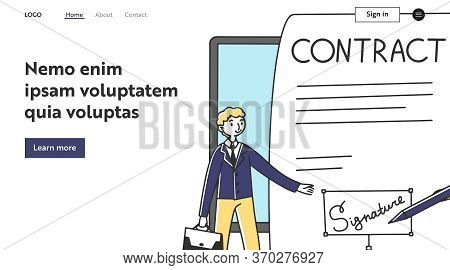 Businessman Presenting Electronic Contract. Signature, Legal Expertise, Document Flat Illustration.