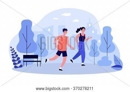 Happy Joggers Running At Park Flat Vector Illustration. Cartoon Runners Jogging Marathon Together. S