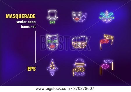 Masquerade Collection In Neon Style. Mask, Feather, Theater And Drama. Vector Illustrations For Brig