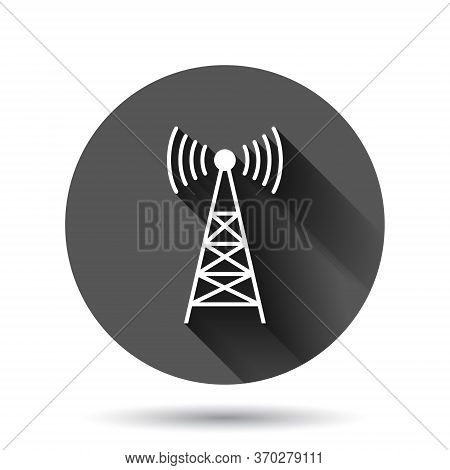 Antenna Tower Icon In Flat Style. Broadcasting Vector Illustration On Black Round Background With Lo