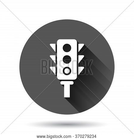 Semaphore Icon In Flat Style. Traffic Light Vector Illustration On Black Round Background With Long