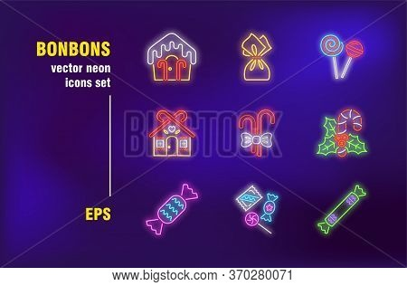 Bonbons Set In Neon Style. Sweet, Candy And Gingerbread House. Vector Illustrations For Bright Banne