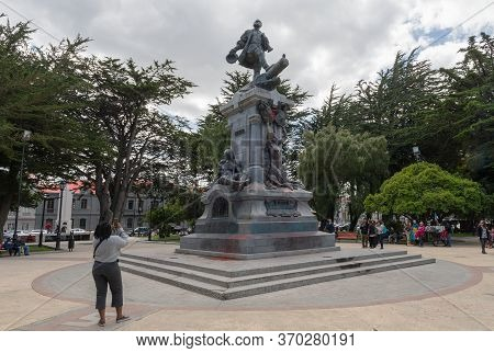 Punta Arenas, Chile-february 10, 2020: Statue Of Ferdinand Magellan In The Plaza De Armas, Punta Are