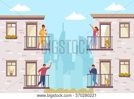 People On Balcony Stay Home. Quarantined People Communicate Through Balcony Two Guys Greet Each Othe