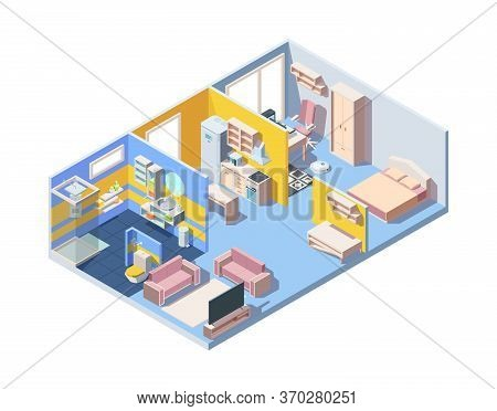 Apartment Interior Isometric Concept. Illustration Design Bedroom Living Room Kitchen Bathroom Moder