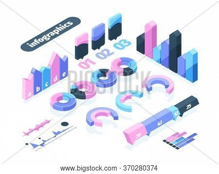Infographics Isometric Element Set. Infographic Symbol Pie Diagram Wave Dashed Business Graph Oscill
