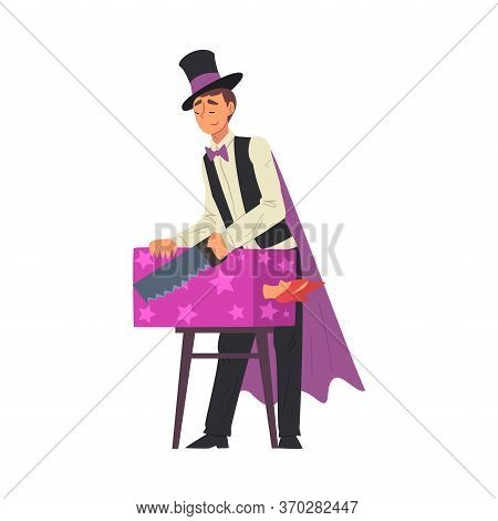 Magician Sawing Woman, Illusionist Character In Cape Performing At Magic Show Cartoon Style Vector I