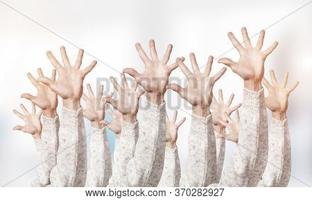 Row Of Man Hands Showing Five Spread Fingers Gesture. Hello Or Help Group Of Signs. Human Hands Gest