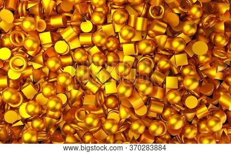 Shiny, Metallic Gold Geometric Primitives Background With Cubes, Cones, Spheres And Tori Top View Fl