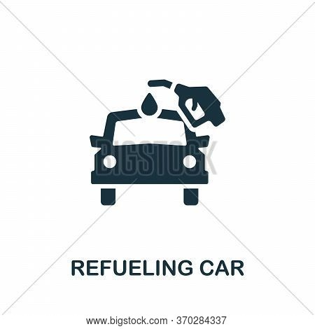 Refueling Car Icon. Simple Element From Carsharing Collection. Creative Refueling Car Icon For Web D