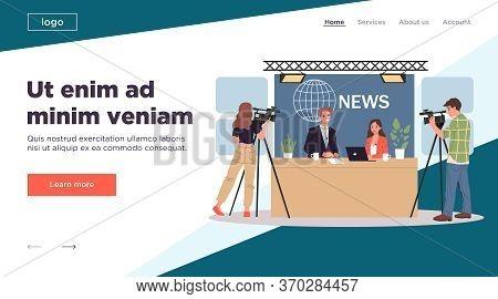 Tv News Studio. Cameramen, Hosts, Newscaster, Guest Flat Illustration. Morning Show, Broadcasting, I