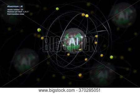 3d Illustration Of Atom Of Aluminium With Detailed Core And Its 13 Electrons With Atoms In Backgroun