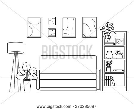Contour, Silhouette Of The Living Room, Sofa, Paintings, Shelving And Flowers. Cute Simple Coloring