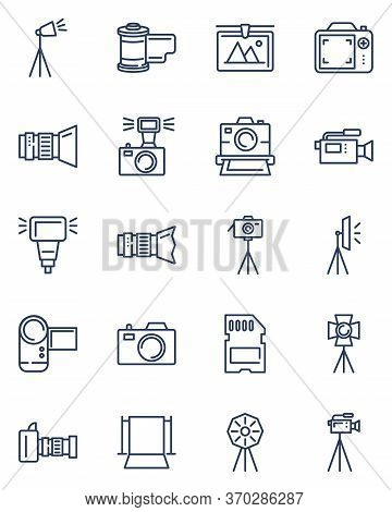 Photography Equipment Line Icons Set. Digital Cameras On Tripods, Video Cam, Backdrop, Lighting. Thi