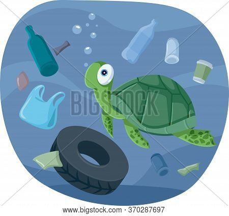 Turtle Swimming In Polluted Ocean Vector Illustration