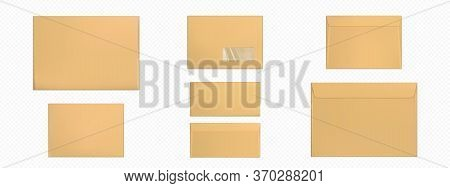 Kraft Envelopes Template Set. Blank Brown Closed Craft Paper Covers, Letter Packages, Mock Up Of Fol