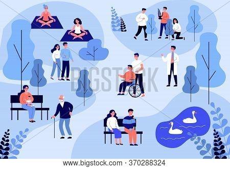 Patients Walking And Training In Hospital Park. Rehabilitation, Nurse, Health Flat Vector Illustrati