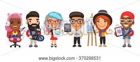 A Group Of Creative Professions Men And Women Characters In Different Poses Stand On A White Backgro