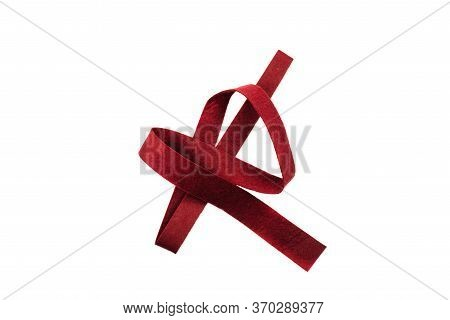 Crimson Strip Of Felt Fabric Isolated On A White Background. Type Of Felt, Non-woven Material. View