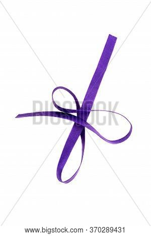 Violet Strip Of Felt Fabric Isolated On A White Background. Type Of Felt, Non-woven Material. View F