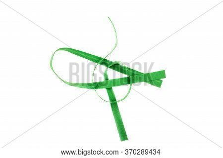 Green Strip Of Felt Fabric Isolated On A White Background. Type Of Felt, Non-woven Material. View Fr
