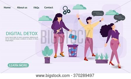 Digital Detoxification, Banner Concept For Web And Mobile Sites, Small People Men And Women Throw Th