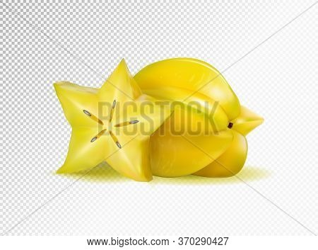 Vector Realistic Illustration Two Carambolas - Starfruits Isolated On Transparent Background, 3d