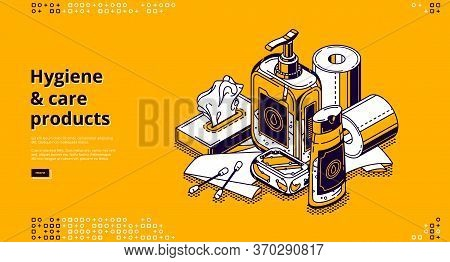 Hygiene And Care Products Isometric Landing Page With Liquid Sanitizer, Antibacterial Soap Bar, Wet
