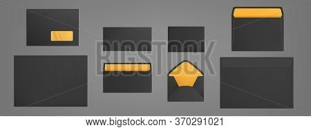 Black Envelopes Template Set. Blank Closed And Open Craft Paper Covers Various Size, Letter Package