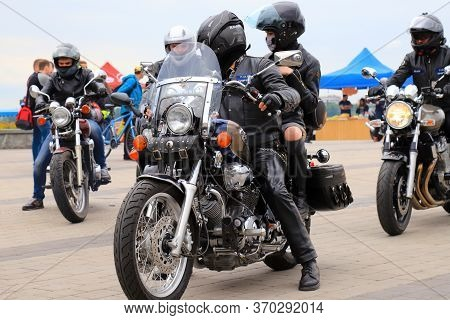 Motorcyclists On Cool Motorbikes, In Helmets And Leather Jackets, Open The Motorcycle Season, Motorc