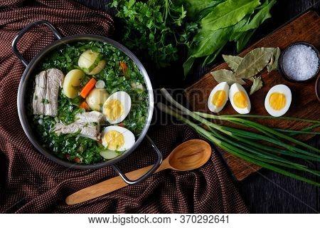 Eastern European Dish: Green Sorrel Borscht Of Fresh Sorrel, Green Onion With Pork Ribs, Young Potat