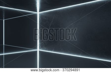 Clean Gallery Interior With Blank Gray Concrete Wall. Gallery, Advertisement, Presentation Concept.