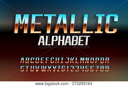 Metallic Alphabet Font. Reflective Surface Chrome Effect Letters And Numbers With Shadow. Abstract B