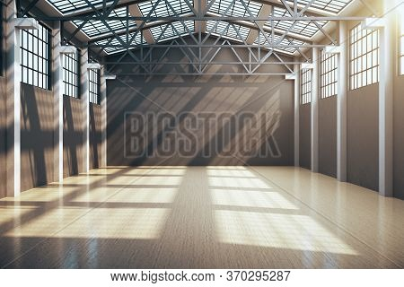 Modern Storehouse Interior With Window And Daylight. Industrial And Construction Concept. 3d Renderi