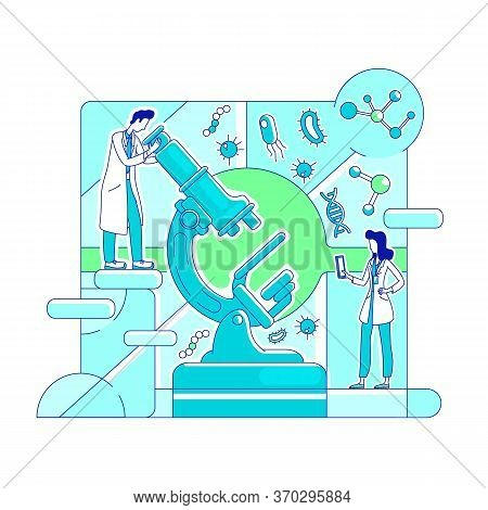 Microbiology, Biotechnology Thin Line Concept Vector Illustration. Lab Workers, Scientists With Micr