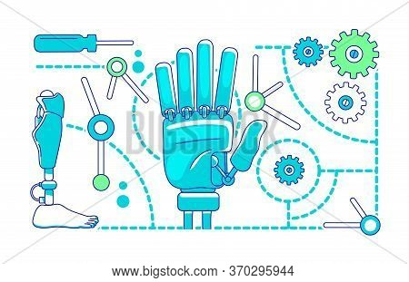 Prosthetics, Bionics Thin Line Concept Vector Illustration. Artificial Limbs, Mechanical Arm And Leg