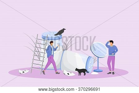 Misfortune Signs And Bad Omens Flat Concept Vector Illustration. Young Men In Trouble, People With B