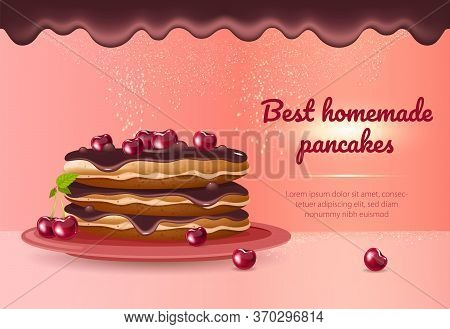 Best Homemade Pancakes Realistic Vector Product Ads Banner Template. Delicious Dessert, Breakfast 3d