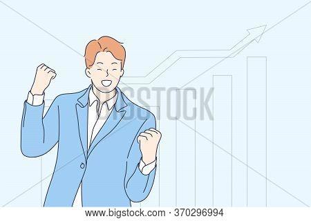 Statistics, Business, Success, Goal Achievement, Celebration Concept. Young Businessman Boy Clerk Ma