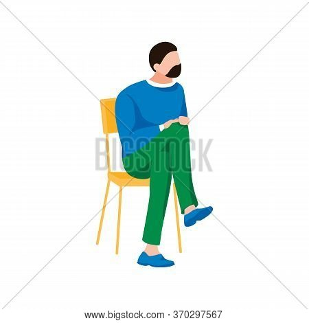 Handsome Man Waiting For Doctor. Male Character Sits In Queue. Cartoon Human Sits On Chair, Isolated