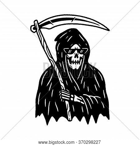 Grim Reaper With Scythe Black White Background
