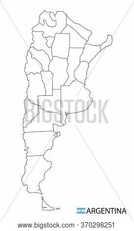 Argentina Map, Black And White Detailed Outline Regions Of The Country.