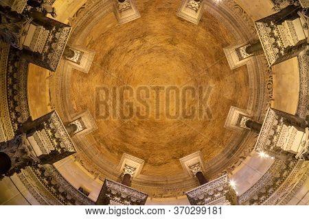Split, Croatia. 22 06 2019. The Majestic Stone Dome Of The Temple In The Historic Roman Palace Of Di